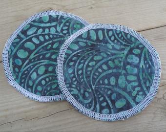 Reusable Nursing Pads, Cotton Flannel Nursing Pads - Green Leaf Batik