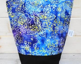 Insulated Lunch Bag - Blue & Purple Batik