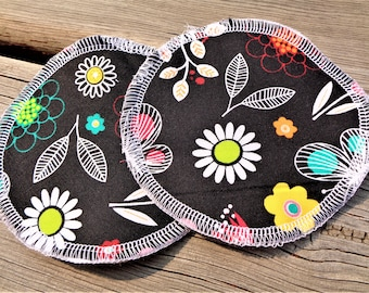 Nursing Pads, Waterproof Nursing Pads - Black Floral