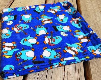 Receiving Blanket, Flannel Baby Blanket - Penguins