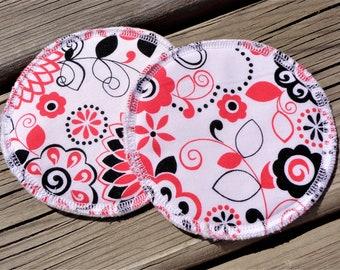 Reusable Nursing Pads, Cotton Flannel Nursing Pads - City Girl Red & Black