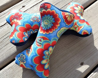 Squeaky Dog Chew Toy, Dog Toy, Upcycled Dog Toy - Blue Floral