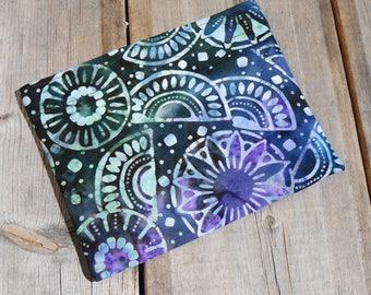 Reusable Snack Bag - Single Bag in Blue, Purple Batik