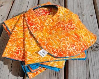 Baby Gift Set: Baby Blanket, Burp Cloth - Orange Batik