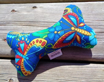 Squeaker Dog Chew Toy, Dog Toy, Upcycled Dog Toy - Small - Blue Butterfly