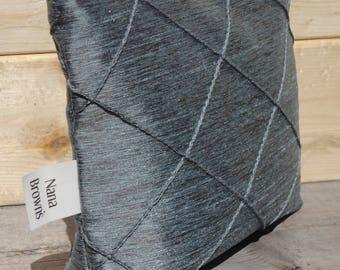 SALE Make up Bag, Zipper Pouch - Small - Blue Grey Pintuck