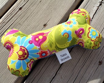Squeaky Dog Chew Toy, Dog Toy, Upcycled Dog Toy - Medium - Yellow Floral