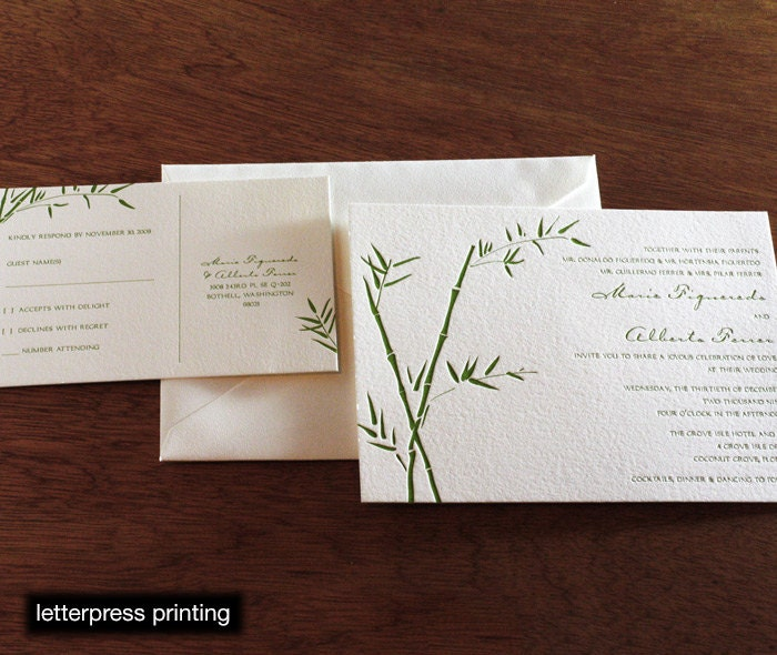 Matchy Matchy Letterpress Invite And Handmade Envelope: Lucky Bamboo Letterpress Or Digital Wedding Invitations