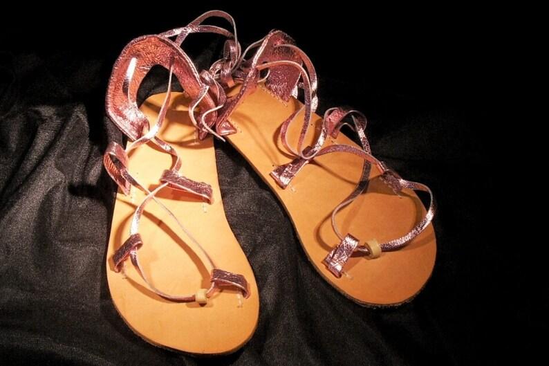 e5058b770e8 OASIS Dance Lt PINK Metallic on Oak-Tan Footbed Lace Up Sandals