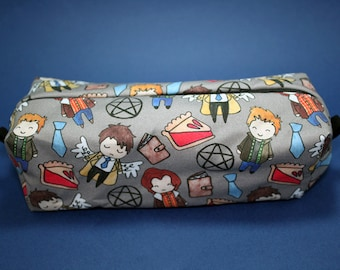 Boxy Makeup Bag- Supernatural Cast Doodle- Pencil Pouch - Dean Winchester, Sam Winchester,  and Castiel