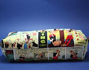 Boxy Makeup Bag - Popeye Comic Panel Print Zipper - Pencil Pouch