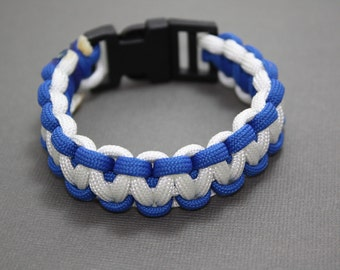 Survival Paracord Bracelet Blue and White with Side Release Buckle - Go Magic or Favorite Sports Team