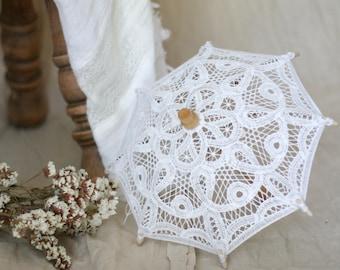 f886ed0ba6d3 Extra Small Battenburg Lace Parasol Romantic Umbrella Wedding Decor Bridal  Shower Baby Shower Photo Prop