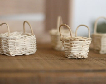 Set of 4 Miniature Reed Baskets/Bleached Willow/Craft Baskets/DIY Crafts
