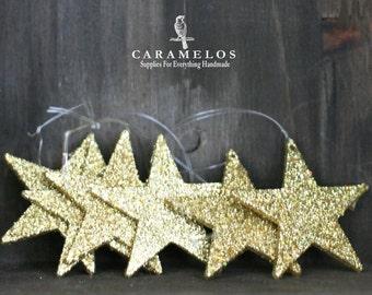 "Glittered Gold Star Ornaments 2"""
