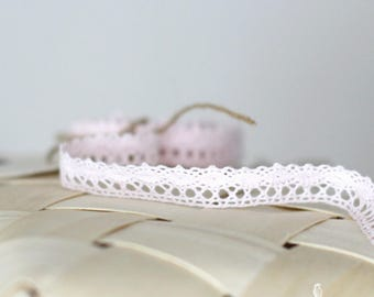 "Pink Cotton Crochet Lace Ribbon 3/4"" - DIY Wedding invitation/shower/favors/Boho/Baby Shower/Gift Packaging"