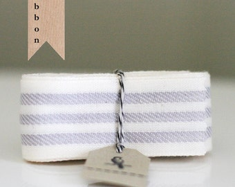Ivory and Gray Stripe Woven Ribbon 1 1/2""
