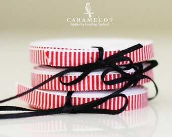 """1/4"""" Red and White Peppermint Stripe Ribbon"""