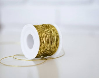 Metallic Gold Tinsel Braided Cord/Twine/Rope 1 mm/Gift packaging/Party Supplies/Wedding Favors Invitations/Textile Art