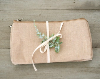 Natural Jute Blend Zipper Pouch - Unfinished Cosmetic Pouch/Bridesmaide gift/Welcome bag