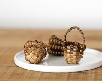Set of 3 Miniature Natural Bamboo Baskets/Craft Baskets/DIY/