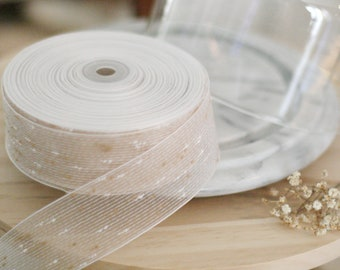 """Natural Confetti Woven Ribbon 25 YDS 1 1/2""""/Natural Wedding/Gift packaging/photo prop/Eco friendly"""
