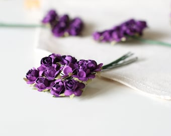 Miniature Grape Millinery Paper Roses/Flowers/Vintage Style/Mini/Wedding Supplies