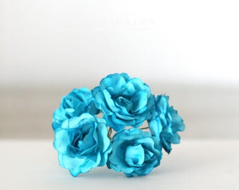 """Vintage Style Millinery turquoise paper flowers 1 1/4"""""""