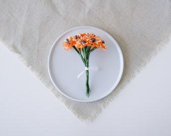 Vintage Orange Millinery Fabric Flowers
