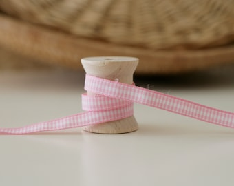 "25 Yards of Vintage Pink and White gingham check ribbon/1/4""/Tartan"