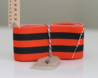 Wide Orange and Black and Candy Stripe Ribbon