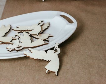 """Set of 3, 5"""" Trumpet Calling Angel Unfinished Wood Cutout/DIY Crafts/Wreath Making/Mobile/ornament/Craft Supply"""