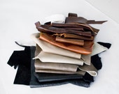 2 lbs Leather Scraps, Earth tone leathers, black, brown, gray, beige, genuine full grain upholstery leather, leather remnants