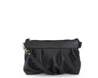 Ruche Crossbody Clutch in Onyx Black, Leather Clutch, Crossbody Clutch, Crossbody Bag, Clutch, Made to Order