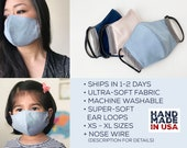 Soft Face Mask, 3 Layer Reusable Washable Mask, Sensitive Skin, Soft Earloops, Filter Pocket Mask, Adult and Kids Mask, Made in USA