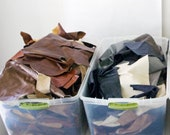 Leather Scraps by the Pound, 2 lbs, two pounds assorted full grain upholstery leather scraps, leather remnants, free shipping