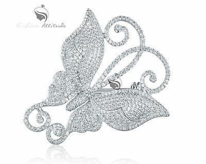 Featured listing image: 18k white gold gp made with swarovski crystal luxury butterfly brooch expensive