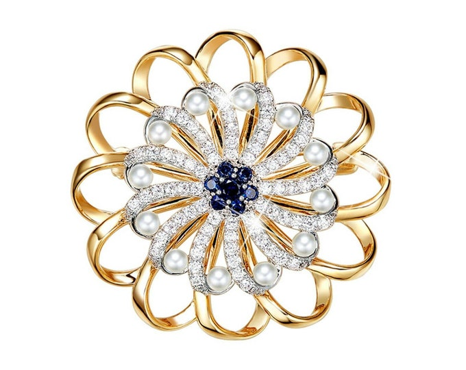 Featured listing image: 18k yellow white gold made with swarovski crystal flower spring brooch rotatable