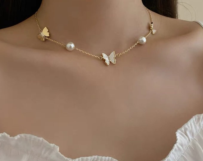 Featured listing image: 18k gold plated mother of pearl butterfly pearl pendant necklace adjustable up to 45cm