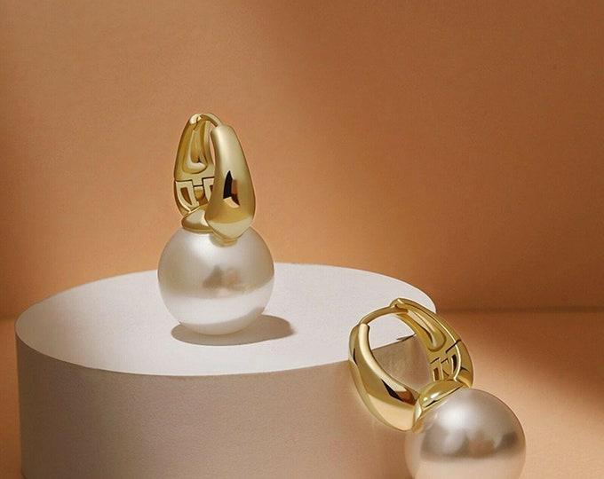 Featured listing image: 18k yellow gold gp 14mm pearl huggies dangle drop classic designer earrings