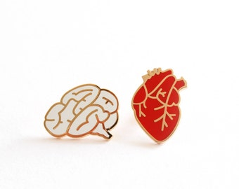 Heart & Brain Enamel Pin Badges, Romantic Gift, Valentines Gift, Anatomical Heart