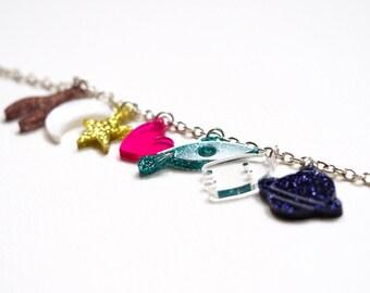 Cosmic Bracelet, Laser Cut Acrylic Charm Bracelet
