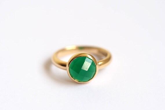 Grune Onyxring Silber Oder Gold Stein Set Ring Gruner Ring Etsy