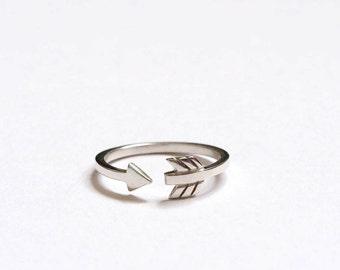 Cupid Arrow Ring, Silver Arrow Ring, Wrap Around Arrow Ring, Handmade Sterling Silver, Arrow Stacking ring,