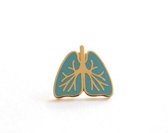 Breathe, Lungs Pin Badge, Blue, Lapel Pin, Pins, Hard Enamel Pin, RockCakes, Brighton UK