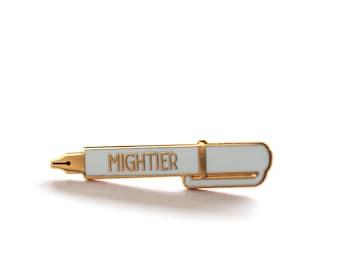 Mightier Pen, Pin, Pins, Graduation Gift, Writer Gift, Gift for Dad, Enamel Pin, Pin Badge, Lapel Pin, Gift for Him, Gift for Her, Pen Pin