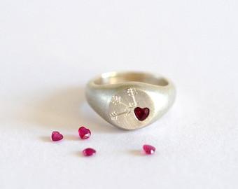 Ruby Ring, Ruby Signet Ring, Ruby Heart, Heart Ring, Love Ring, Promise Ring, Signet Ring, Gift for Her, Silver Ring, Handmade Silver Ring