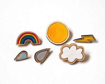 Weather Brooches, Brooch Set, Rainbow Brooch, Weather Brooch, Brooch, Brooches, Rainbow, Hand Painted, Laser Cut, Wooden Brooch, Jewellery