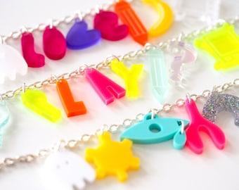 Playful Bracelets, Bright Laser Cut Charm Bracelets, Love, Play, Symbols, Perfect For Summer, Acrylic Jewellery
