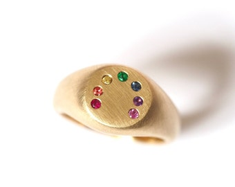 Rainbow Signet Ring in Gold and precious stones